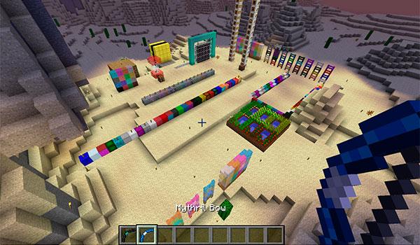 Imagen donde podemos apreciar gran parte de los nuevos bloques y objetos que añade al juego el mod mo' shiz 1.11.2.