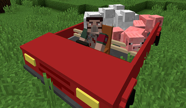 Imagen donde vemos un jugador, conduciendo uno de los coches del mod Personal Cars 1.12, 1.12.1 y 1.12.2, transportando, además, a varios animales.