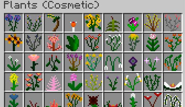 Imagen donde podemos ver una parte de la enorme cantidad de nuevas plantas que añade este mod al juego.