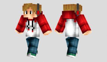 Red Headphones Skin para Minecraft