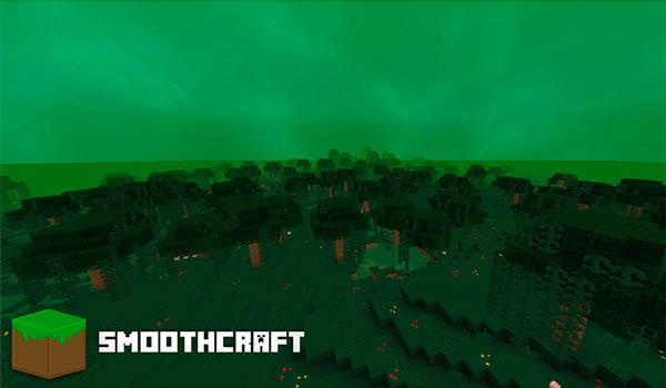 Imagen donde vemos un ambiente tenebroso, con un cielo de color verdoso, gracias a las texturas Smoothcraft 1.12 y 1.11.