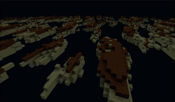 Imagen de la nueva dimensión, llena de islas flotantes, que añade el mod teletoro 1.12, 1.12.1 y 1.12.2.