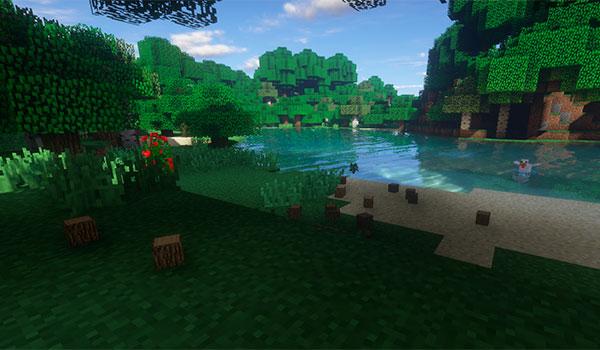 Imagen donde vemos un jugador consiguiendo toda la madera de un árbol de golpe, gracias a la funcionalidad del mod Tree Chopper 1.12, 1.12.1 y 1.12.2.