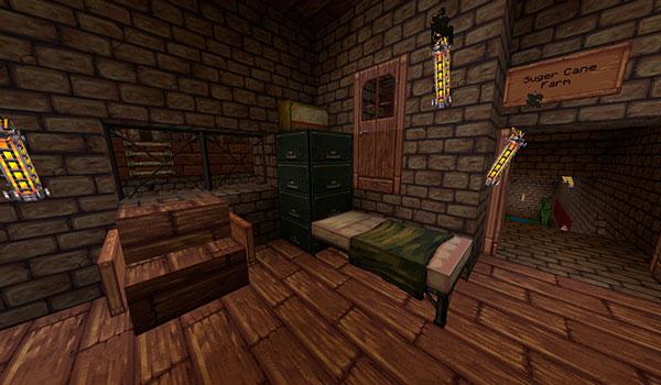 Imagen donde vemos el interior de una vivienda, decorada con las texturas del pack Unnatural State 1.12.