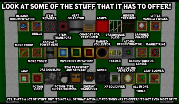 Imagen donde podemos ver una exposición con todos los objetos que nos encontraremos, y podremos utilizar, al instalar el mod Actually Additions 1.12, 1.12.1 y 1.12.2.