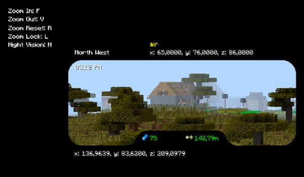 Imagen donde podemos ver la interfaz gráfica de los binoculares, del mod binocular 1.12, con algunas de sus funcionalidades.