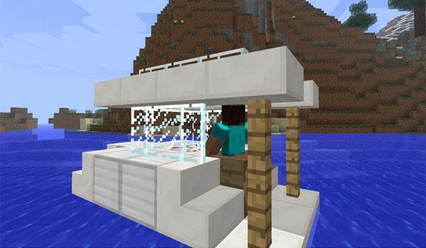 Imagen donde vemos un barco, construido con bloques básicos del juego, creado y tripulado por un jugador, gracias al mod Davincis Vessels 1.12, 1.12.1 y 1.12.2.