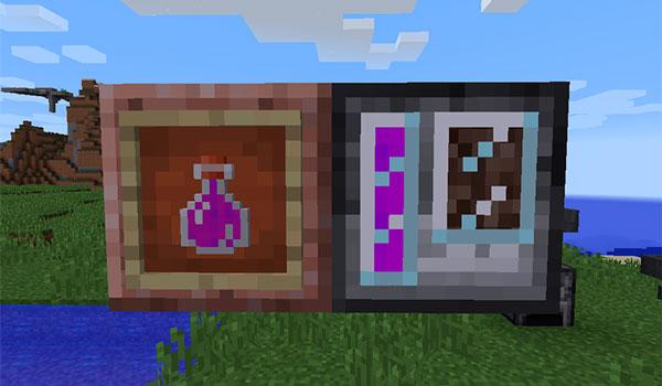 En esta imagen podemos ver dos de los objetos más importantes del mod Imagen donde podemos ver una botella llena de almas y un extractor de almas del mod dissolution 1.12, 1.12.1 y 1.12.2, que son, la botella de almas y un extractor de almas.