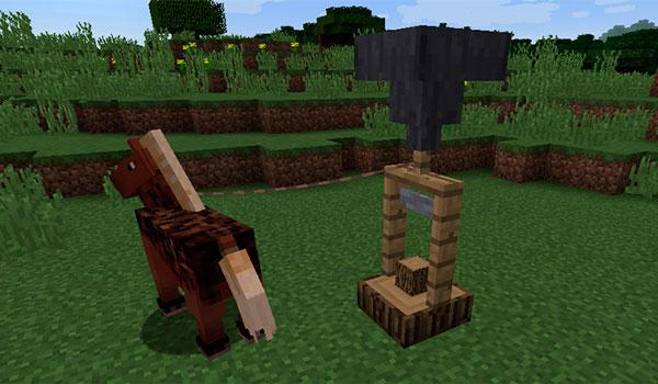 Imagen donde vemos una caballo dando vueltas a una sierra de corte, utilizando su fuerza como energía mecánica.