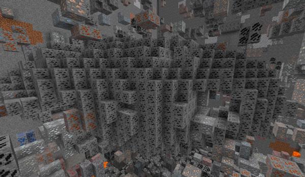 Imagen donde podemos apreciar una enorme veta mineral de carbón, generada gracias al mod Large Veins 1.12.