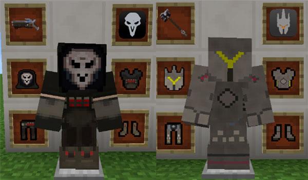 Imagen donde podemos ver dos de los varios trajes de Overwatch que añade el mod Minewatch 1.12.