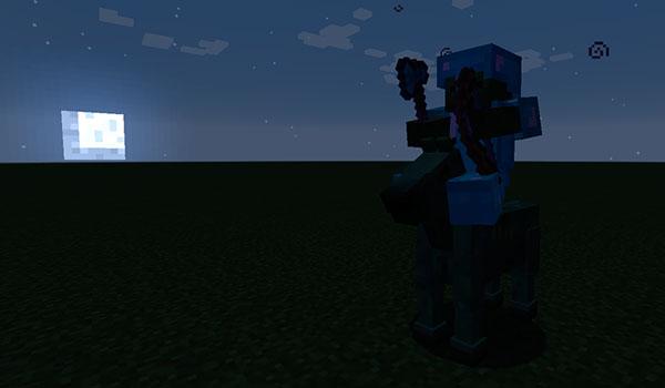 Imagen donde podemos ver a un jefe zombie, montado sobre un caballo zombie, con la luna de fondo.