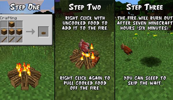 Imagen donde podemos apreciar el proceso de uso de las fogatas o fuegos de suelo que permite crear el mod Simple Camp Fire 1.12 y 1.12.1.