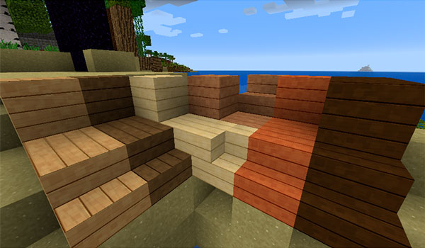 Imagen donde podemos apreciar el aspecto que tendrán los bloques y escaleras de madera utilizando el pack de texturas Smooth Operator 1.12 y 1.11.