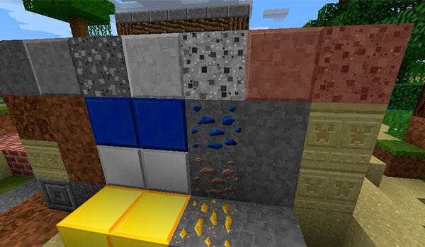 Imagen donde podemos ver como es el diseño y las texturas de los recursos minerales con el paquete de texturas Smooth Operator 1.12 y 1.11.