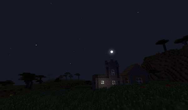 Imagen donde vemos un paisaje nocturno, donde podemos apreciar el aspecto de los cielos estrellados realistas que añade el mod Stellar Sky 1.12, 1.12.1 y 1.12.2.