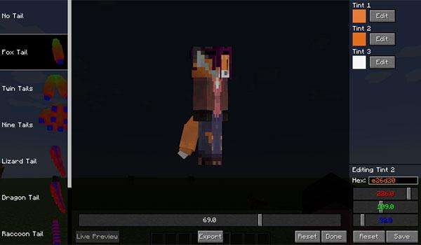 Imagen donde vemos a un jugador utilizando la interfaz de personalización de colas para los personajes de Minecraft, gracias al mod Tails 1.12, 1.12.1 y 1.12.2.