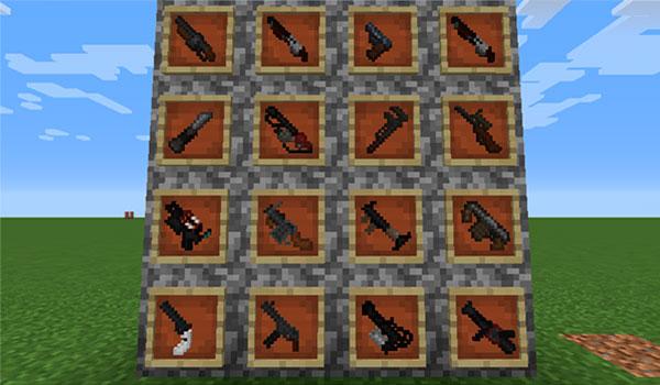 Imagen donde podemos ver algunas de las armas que tendremos a nuestra disposición después de instalar el mod TF2 Stuff 1.12, 1.12.1 y 1.12.2.