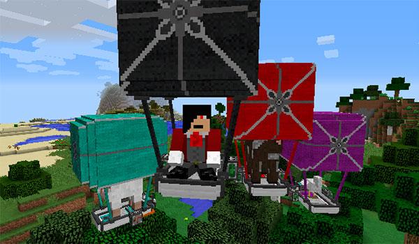 Imagen de un jugador de Minecraft, volando con su globo aerostático, mientras que podemos ver globos aerostáticos de varios colores, gracias al mod ViesCraft 1.12 y 1.12.2.