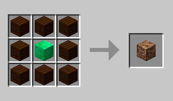 Imagen donde vemos el proceso de fabricación del bloque de mercado que añade el mod, Villager Market 1.12.
