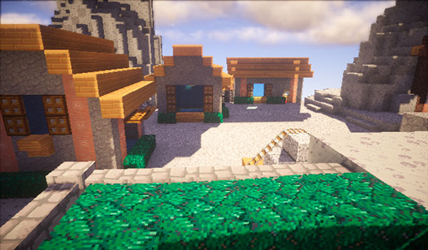 Imagen donde vemos el aspecto que tienen un poblado al utilizar el pack de texturas Annahstas Beastrinia 1.16, 1.15 y 1.12.