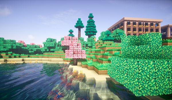Imagen donde podemos ver un paisaje, junto a la orilla de un lago, con edificios. Todo ello decorado con las texturas Annahstas Beastrinia 1.16, 1.15 y 1.12.