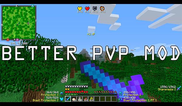 Imagen donde podemos ver el nuevo aspecto del HUD de Minecraft, con información específica para el combate, que ofrece el mod Better PVP 1.12.