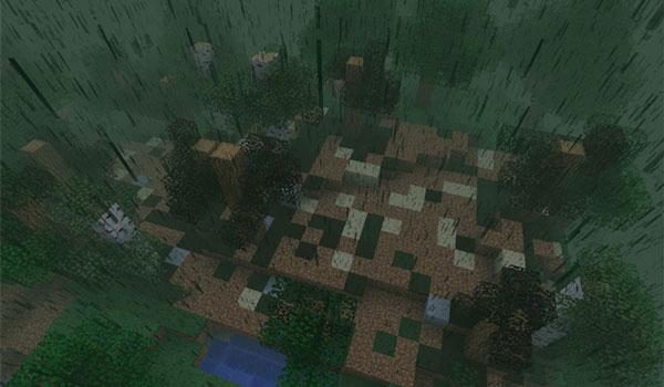 Imagen donde podemos ver los efectos de las lluvias ácidas que se producirán en Minecraft con el mod Ecology 1.12.1 y 1.12.2.
