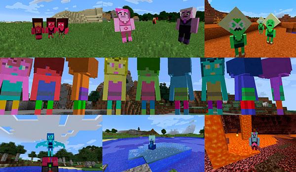 Imagen donde podemos ver un ejemplo con algunas de las Gemas de Steven Universe, que podremos encontrarnos en Minecraft, gracias al mod kagic 1.12.1.