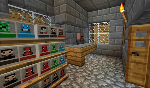 Imagen donde podemos ver la tienda de figuras en miniatura que el mod MiniHeads 1.12 y 1.12.1 añade a los poblados de Minecraft.