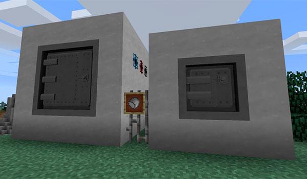 En esta imagen podemos ver un ejemplo de dos cajas fuertes, de diferentes tamaños y prestaciones, que añade el mod MultiStorage 1.12 y 1.12.1.