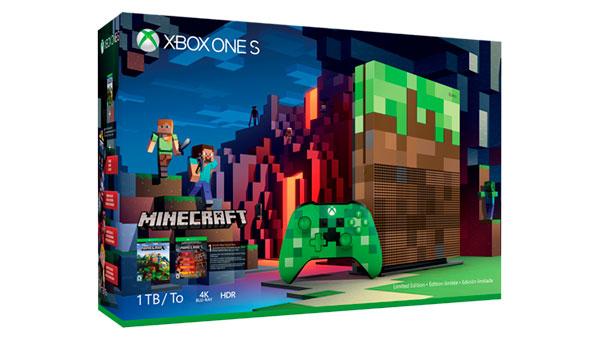Imagen donde podemos ver el diseño de la caja o packaging de la consola Xbox One S edición especial de Minecraft.