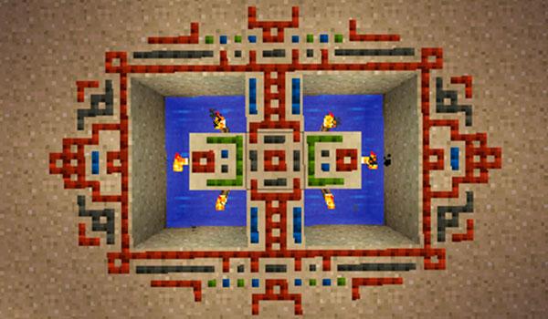 Imagen donde podemos ver una imagen simétrica, formada por patrones, utilizando el mod Runes of Wizardry 1.12, 1.12.1 y 1.12.2.