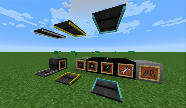 Imagen donde podemos ver las cintas transportadoras que podremos utilizar al instalar el mod Simply Conveyors 1.12, además de otros objetos.