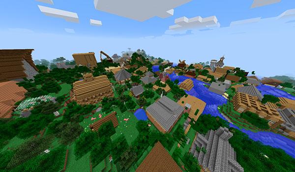 Imagen donde podemos ver un ejemplo de una de las ciudades o poblados que podremos generar automáticamente con el mod StructPro 1.12 y 1.12.1.