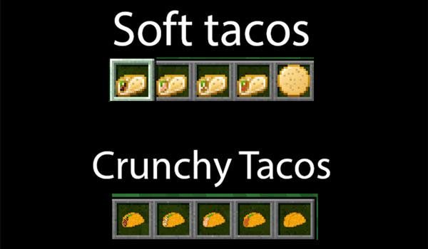 Imagen donde podemos ver algunas de las variantes de tacos que podremos crear con el mod Taco Tuesday 1.12, 1.12.1 y 1.12.2 instalado.