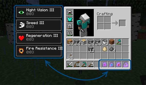 Imagen donde vemos los efectos alterados que las piedras mágicas, añadidas por el mod Ability Stones 1.12.1, producen sobre un jugador.