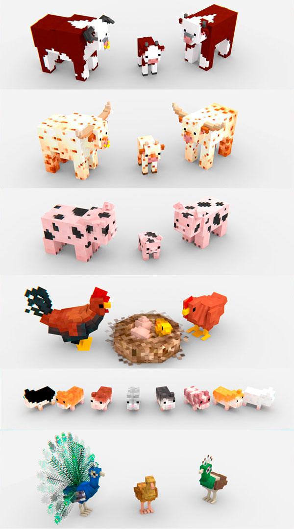 Imagen donde podemos ver el aspecto de los animales predefinidos del juego, además de otros animales que añade el mod Animania 1.12, 1.12.1 y 1.12.2.