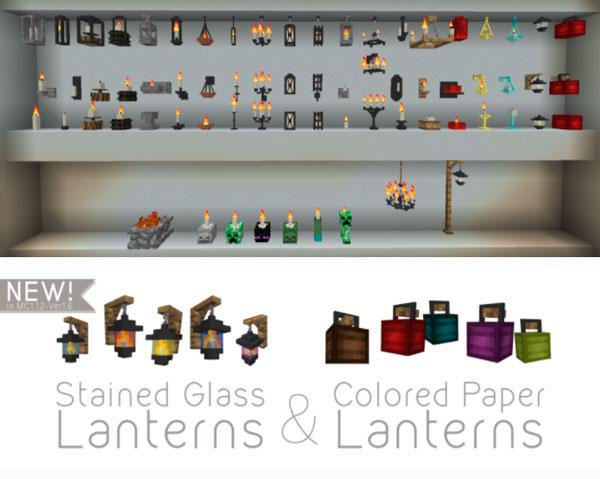 Imagen donde podemos ver las velas, candelabros, lámparas y demás elementos de iluminación que podremos fabricar con el mod ATLCraft Candles 1.12.