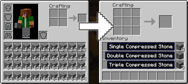Imagen donde podemos ver un ejemplo de un montón de bloques de piedra, comprimidos utilizando las funcionalidades del mod Compression 1.12, 1.12.1 y 1.12.2.