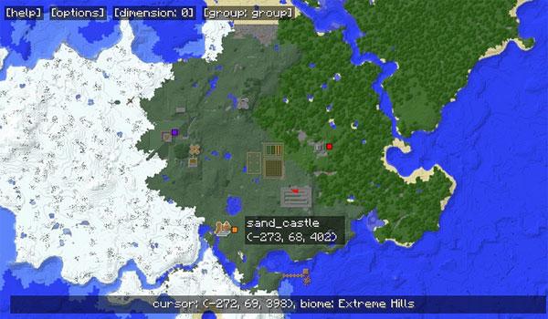 Imagen donde podemos ver el aspecto del mapa completo que nos permite consultar el mod Mapwriter 1.12, 1.12.1 y 1.12.2.