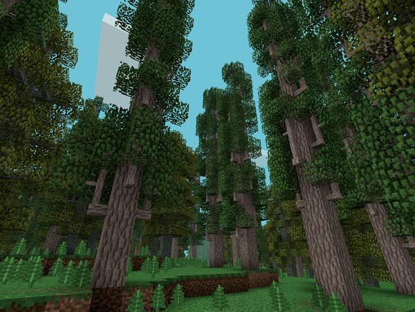 Imagen donde podemos ver los árboles, con ramificaciones, que encontraremos en la nueva dimensión que añade el mod Misty World 1.12, 1.12.1 y 1.12.2.