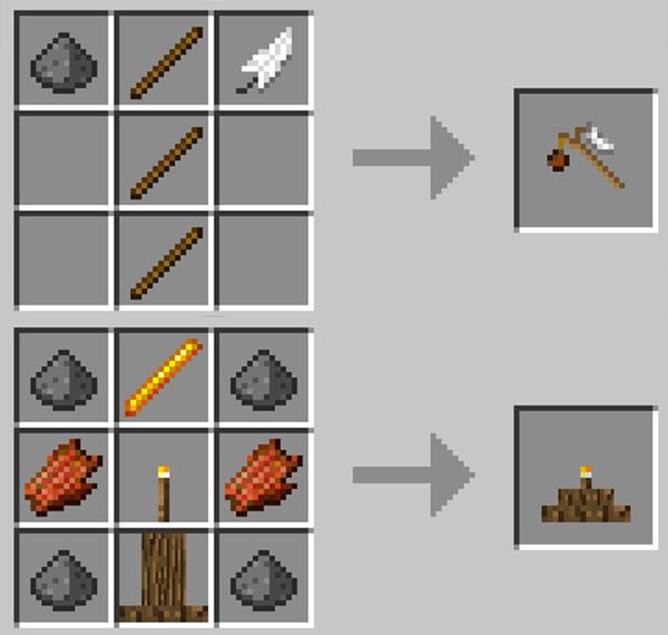 Imagen donde podemos ver el proceso de fabricación de algunos de los objetos que nos permiten crear los tótems que añade el mod Mob Totems 1.12.1.