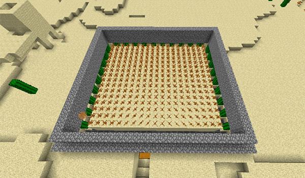 Imagen donde podemos ver una granja de plantas rodadoras, creada gracias al mod Tumbleweed 1.12, 1.12.1 y 1.12.2.