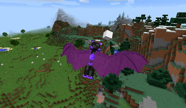 Imagen donde podemos ver a un jugador utilizando las alas que permite crear el mod Wearables 1.12 y 1.12.1.