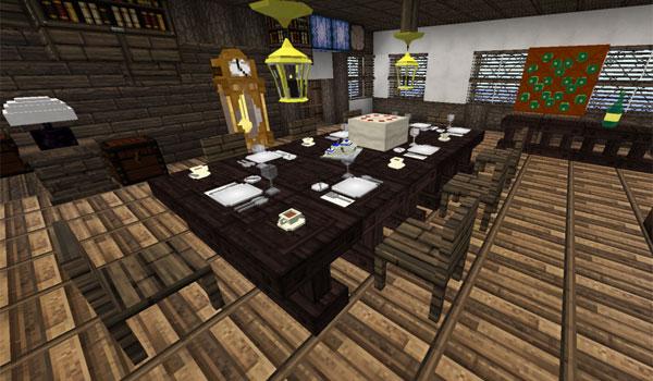 Imagen de ejemplo donde podemos ver el interior de una vivienda, en especial el comedor, con los objetos decorativos del mod DecoCraft 1.12.2.