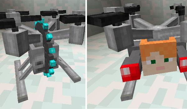 Imagen donde podemos un par de variantes de drones que podremos crear con el mod Drones 1.12, 1.12.1 y 1.12.2.
