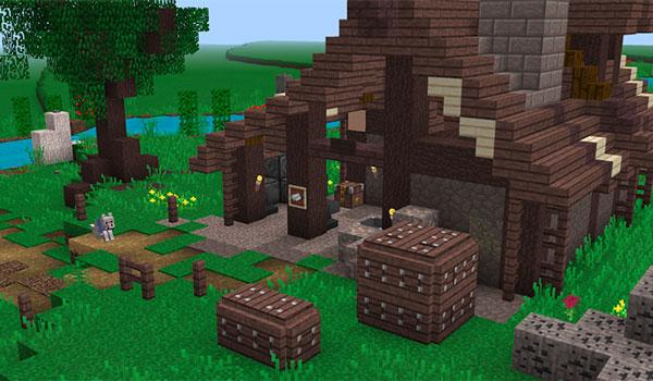 Imagen donde podemos ver una casa decorada con las texturas Echelon 1.12.