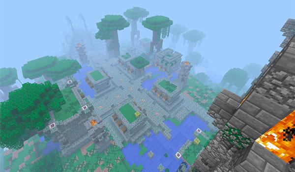 Imagen aérea donde podemos ver la generación de terreno que crea el mod Welcome to the Jungle 1.12.2.