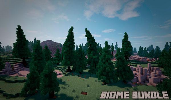 Imagen donde podemos ver un paisaje de uno de los biomas realistas que añade el mod Biome Bundle 1.12.2.